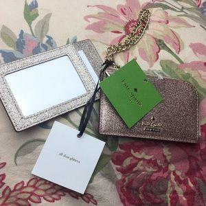 KATE SPADE Glitter GoldRose CARD & ZIPPER $88 new